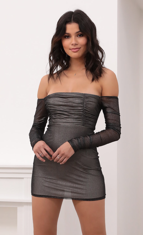 Brenna Off Shoulder Dress in Metallic Silver