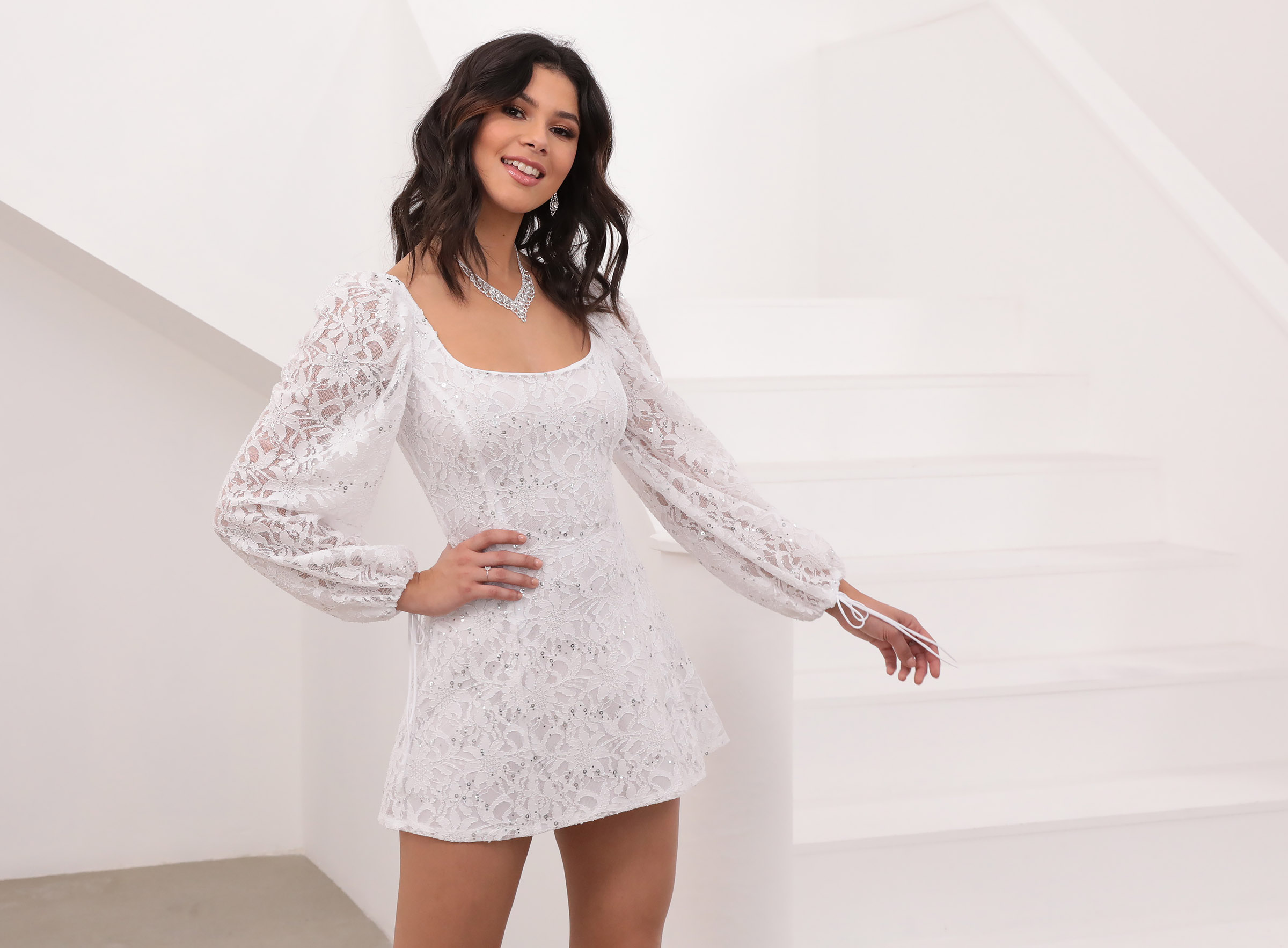 Betty A-Line Lace Dress in White