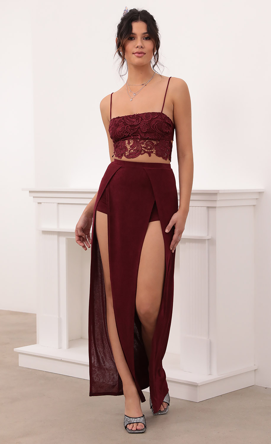 Aurora Maxi Set in Burgundy