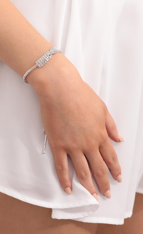 Bow Double Crystal Slider Bracelet
