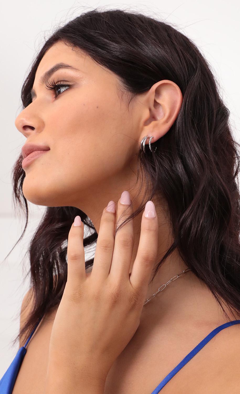 Samantha Stacked Hoop Earrings in Silver