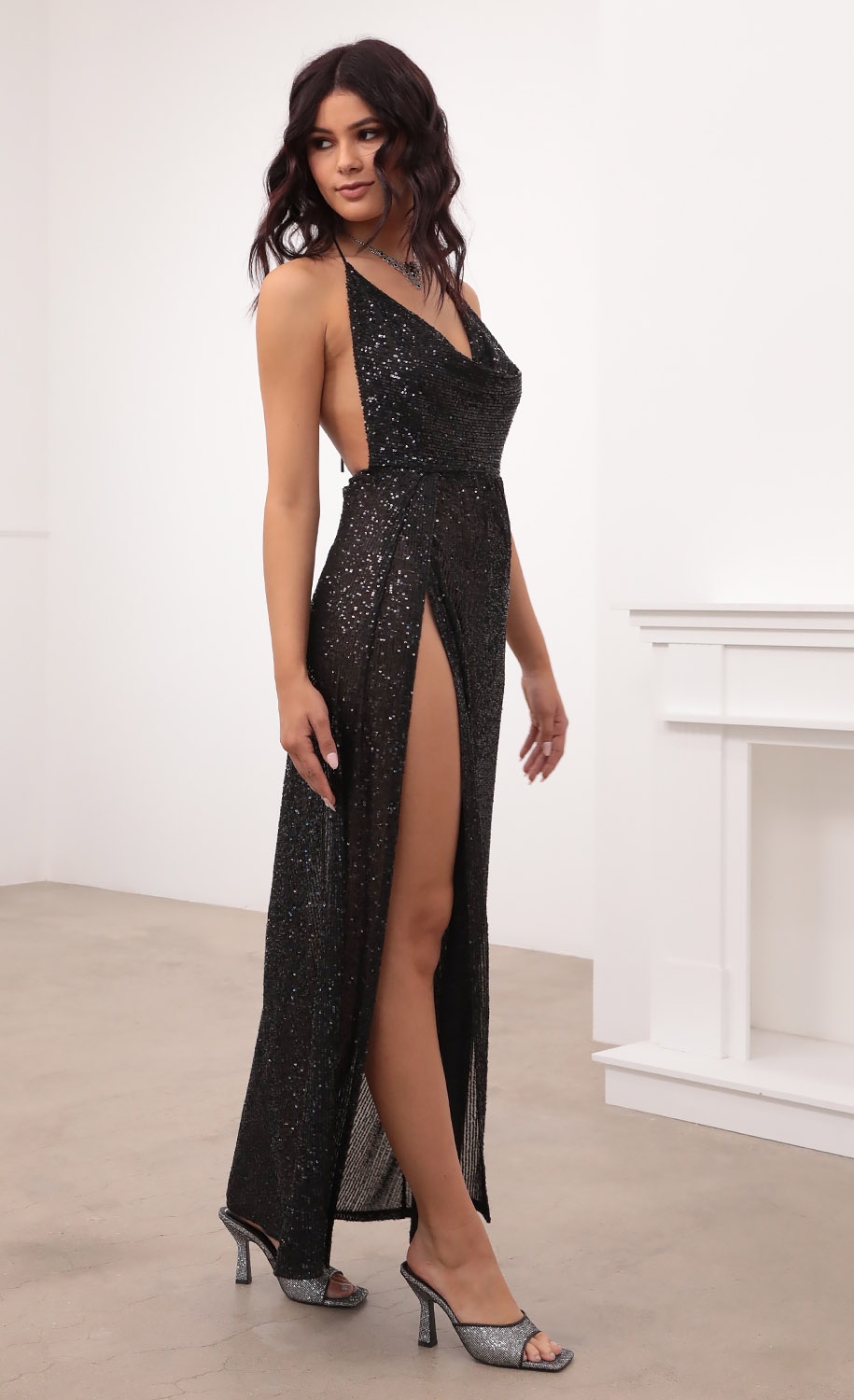 Kaira Cowl Neck Maxi Dress in Black Sequin