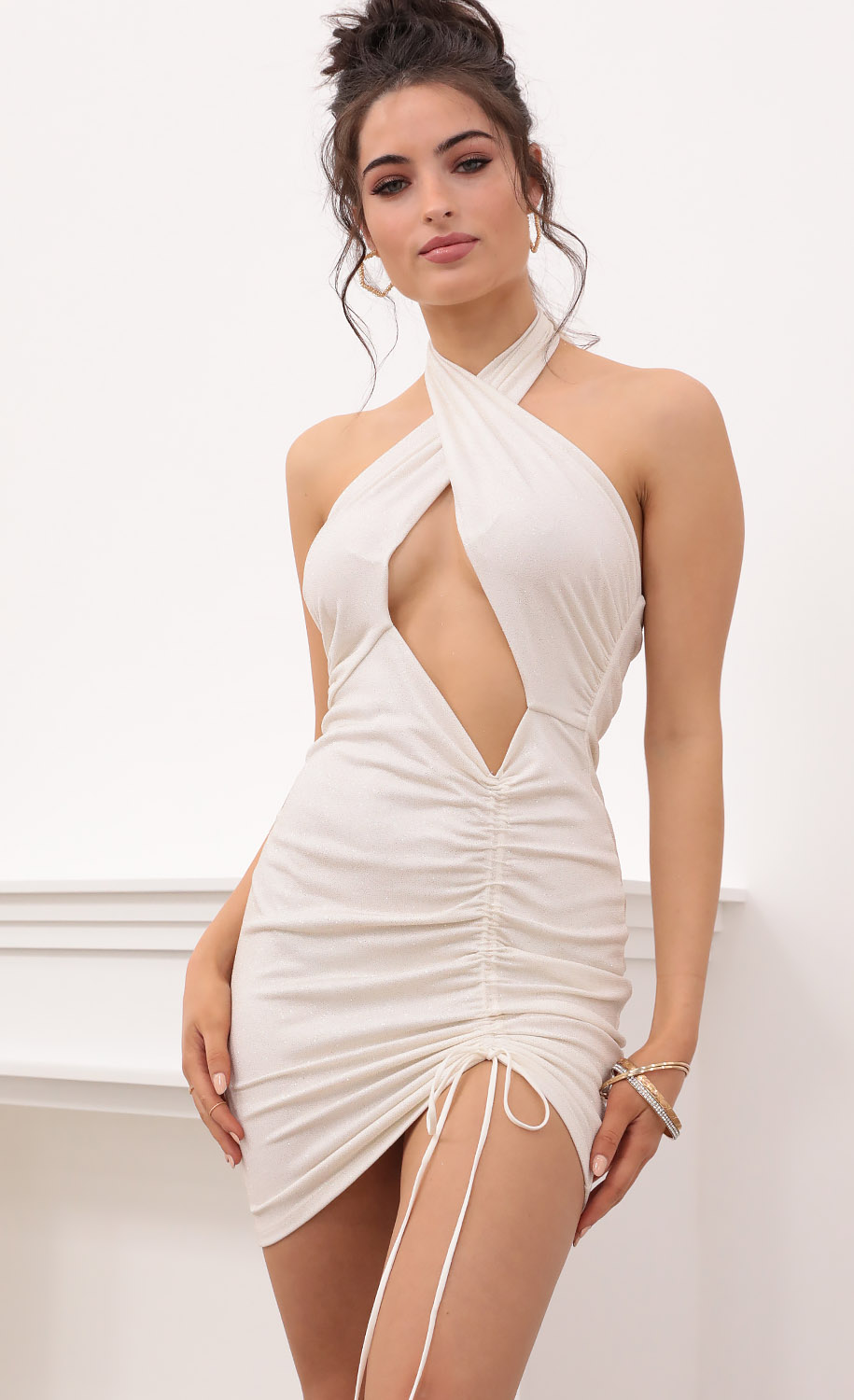 Raven Cutout Ruched Dress in Sparkling Champagne