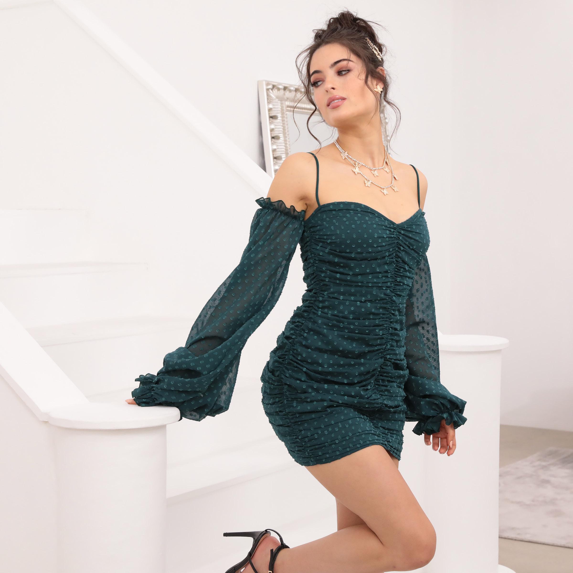 Natalia Draped Dress in Dotted Emerald Chiffon