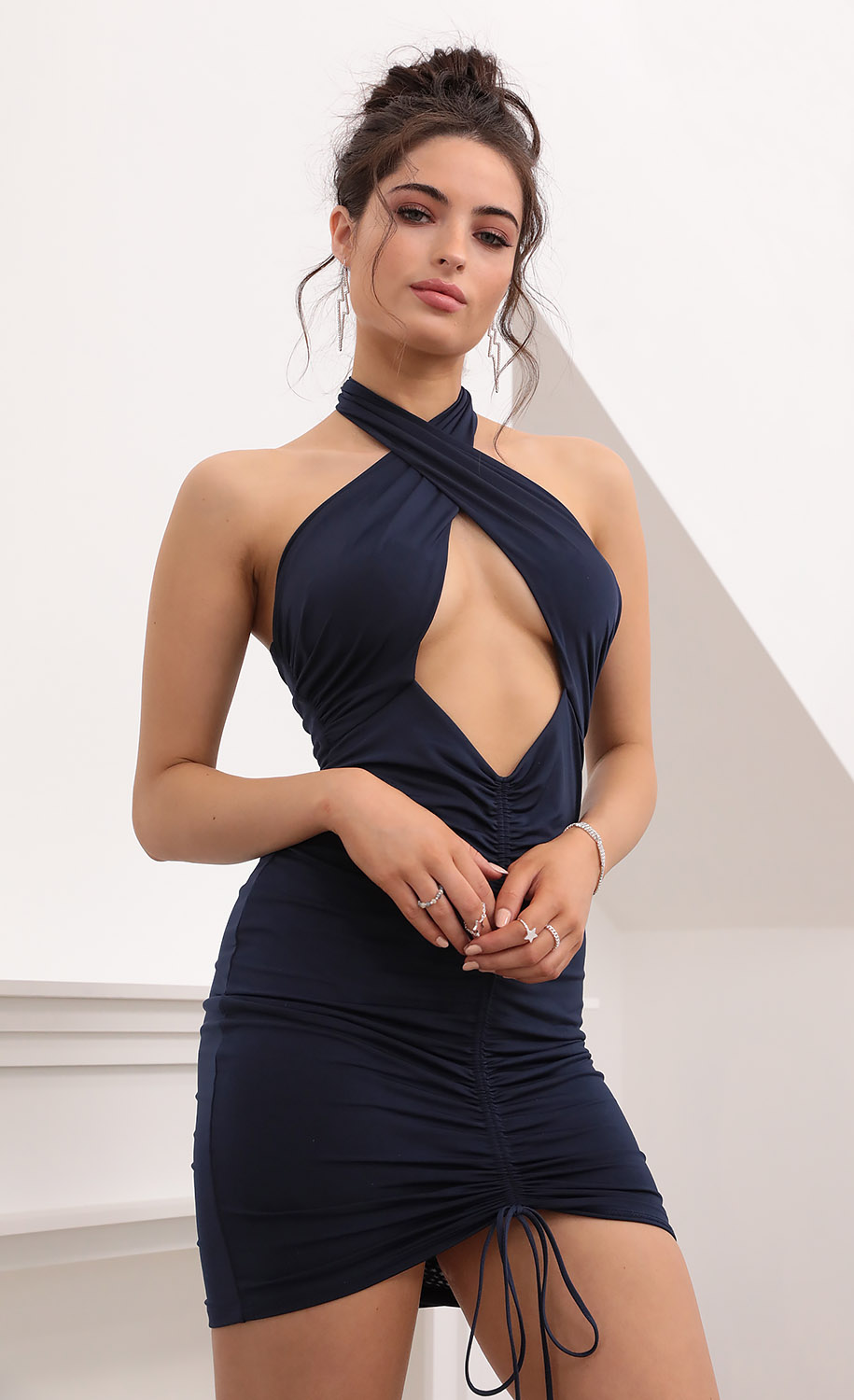 Raven Cutout Ruched Dress in Navy