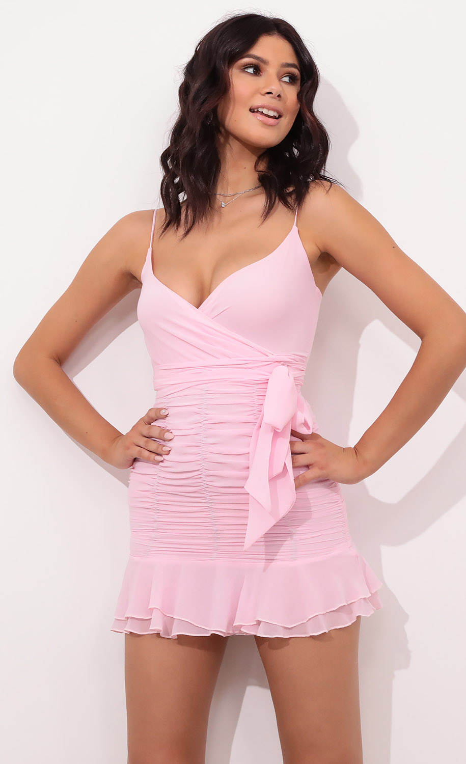 Rose Ruched and Ruffled Dress in Pink