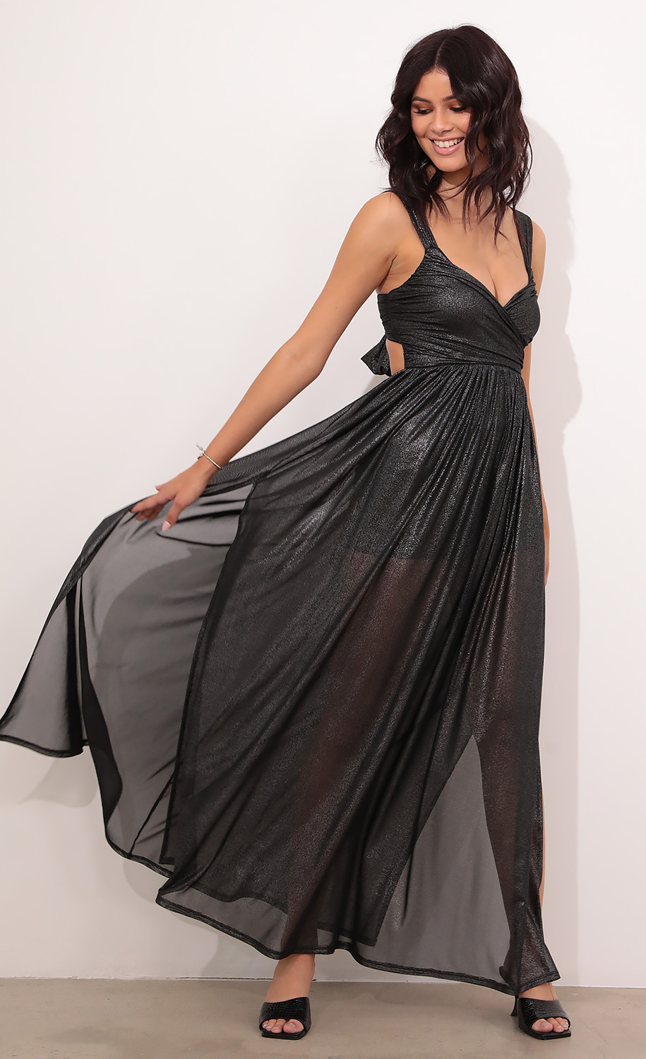 Kelly Sheer Mesh Maxi in Black Shimmer