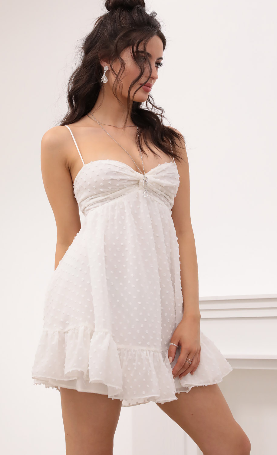 Elina Twist Front Babydoll in Dotted White
