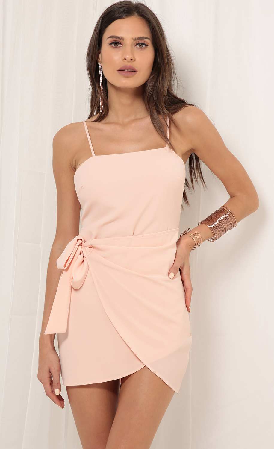 Double Tie Wrap Dress In Blush