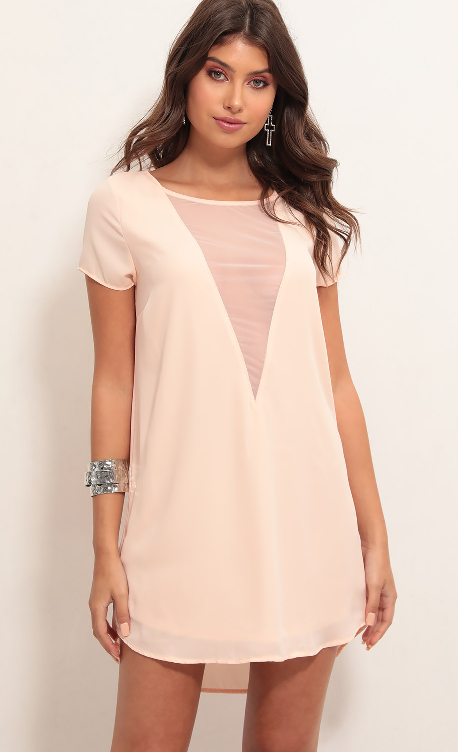Chanel Plunge Shift Dress in Light Coral