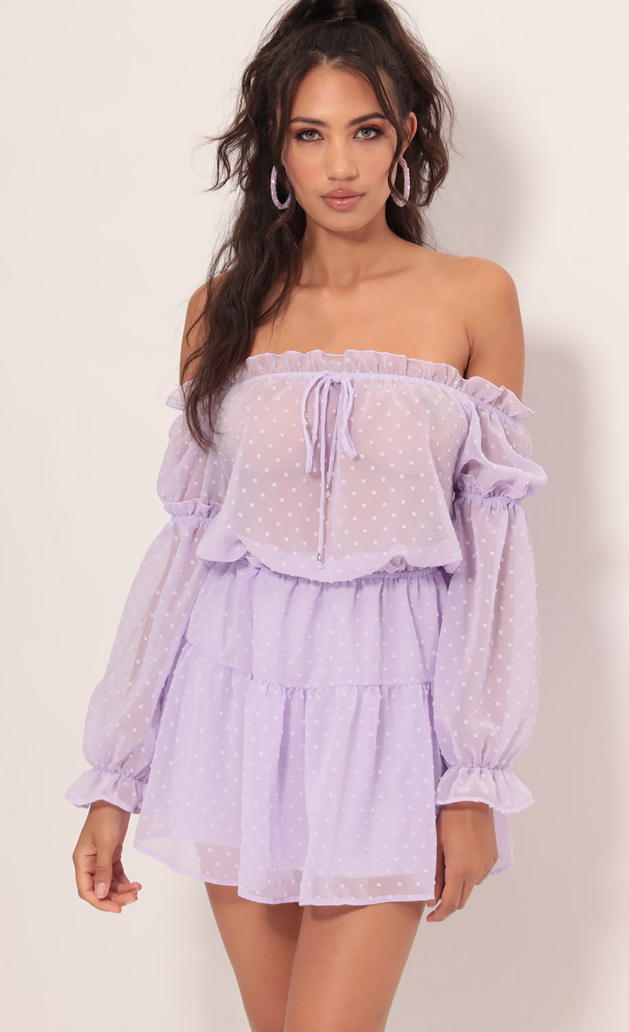 Wild Thoughts Off The Shoulder Dress in Lavender Dots