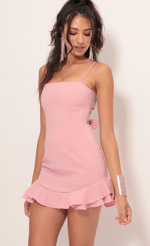 Aubrey Ruffle Dress In Light Mauve