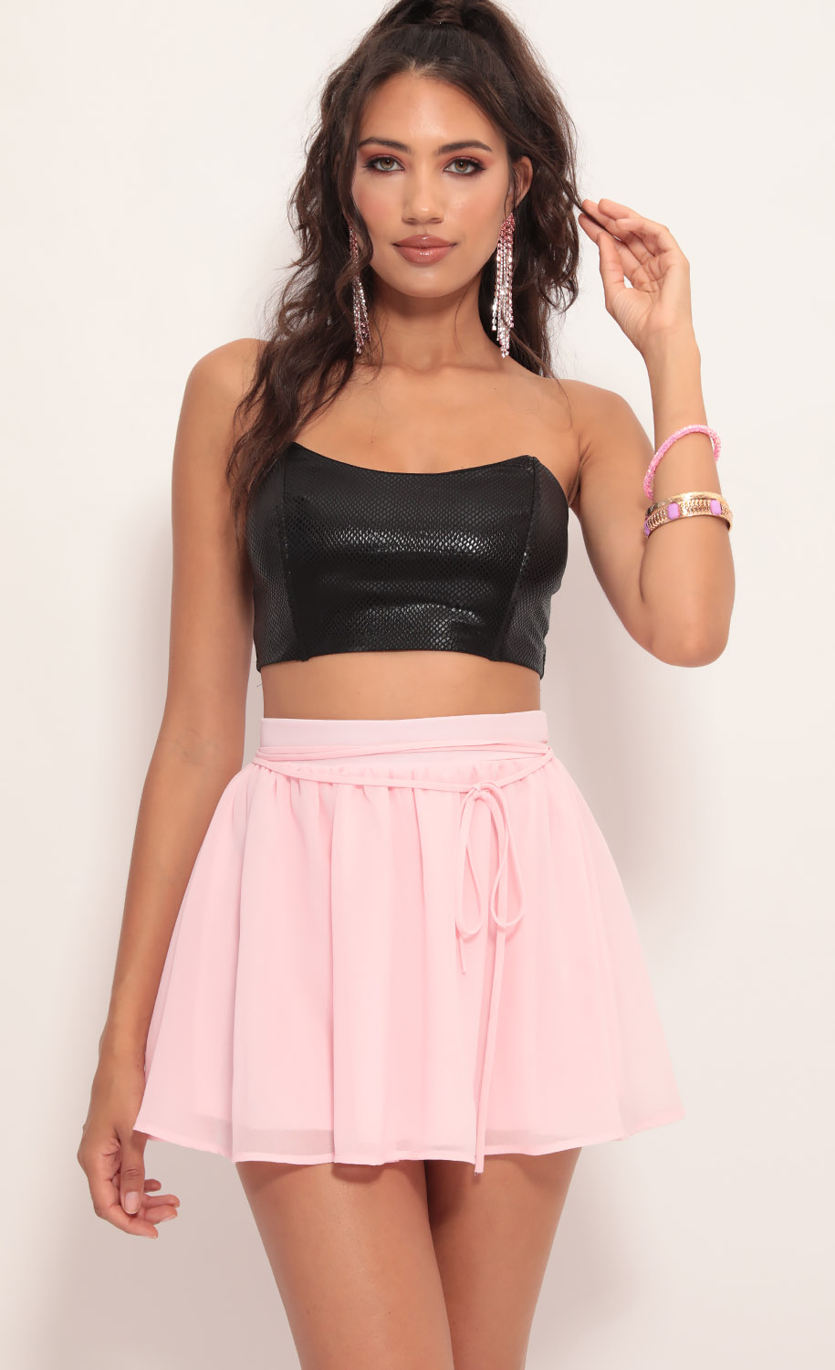 Lena A-line Chiffon Skirt in Light Pink