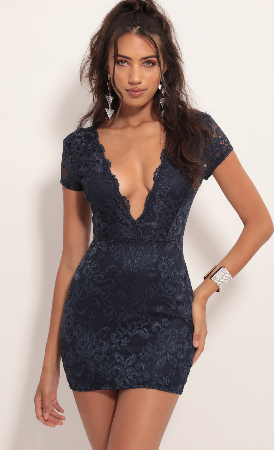 Delaney Lace Edge Dress in Navy