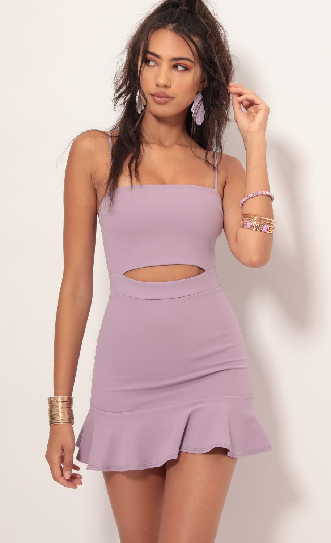 Reilly Cutout Ruffle Dress in Lavender