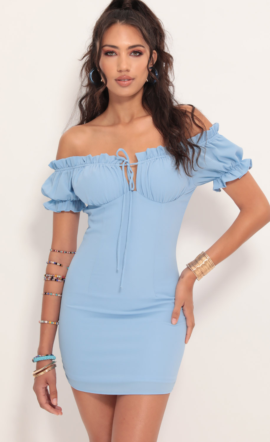Mallory Puff Sleeve Dress in Blue