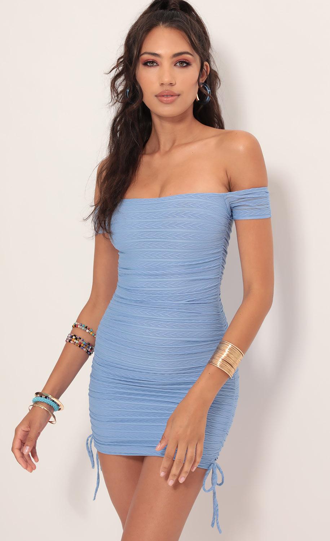 Aria Mesh Striped Dress in Blue