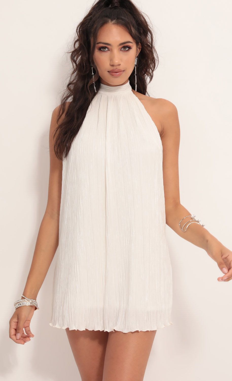 Midnight Satin Halter Dress in Ivory