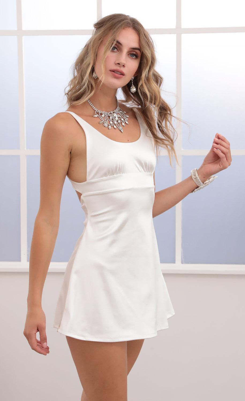 Cezanne Open Back A-line dress in White Satin