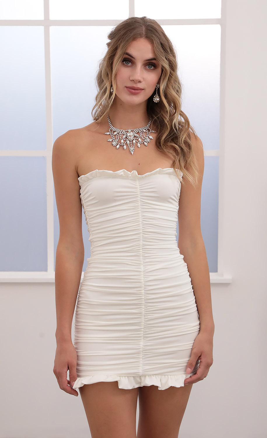Sylvie Ruched Strapless Dress in White