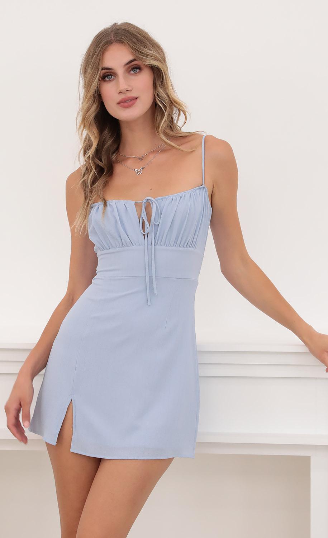 Eva Ties Slit Dress in Blue
