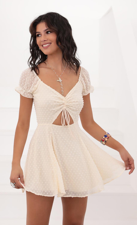 Aida Puff Chiffon Dress in Vanilla Dots