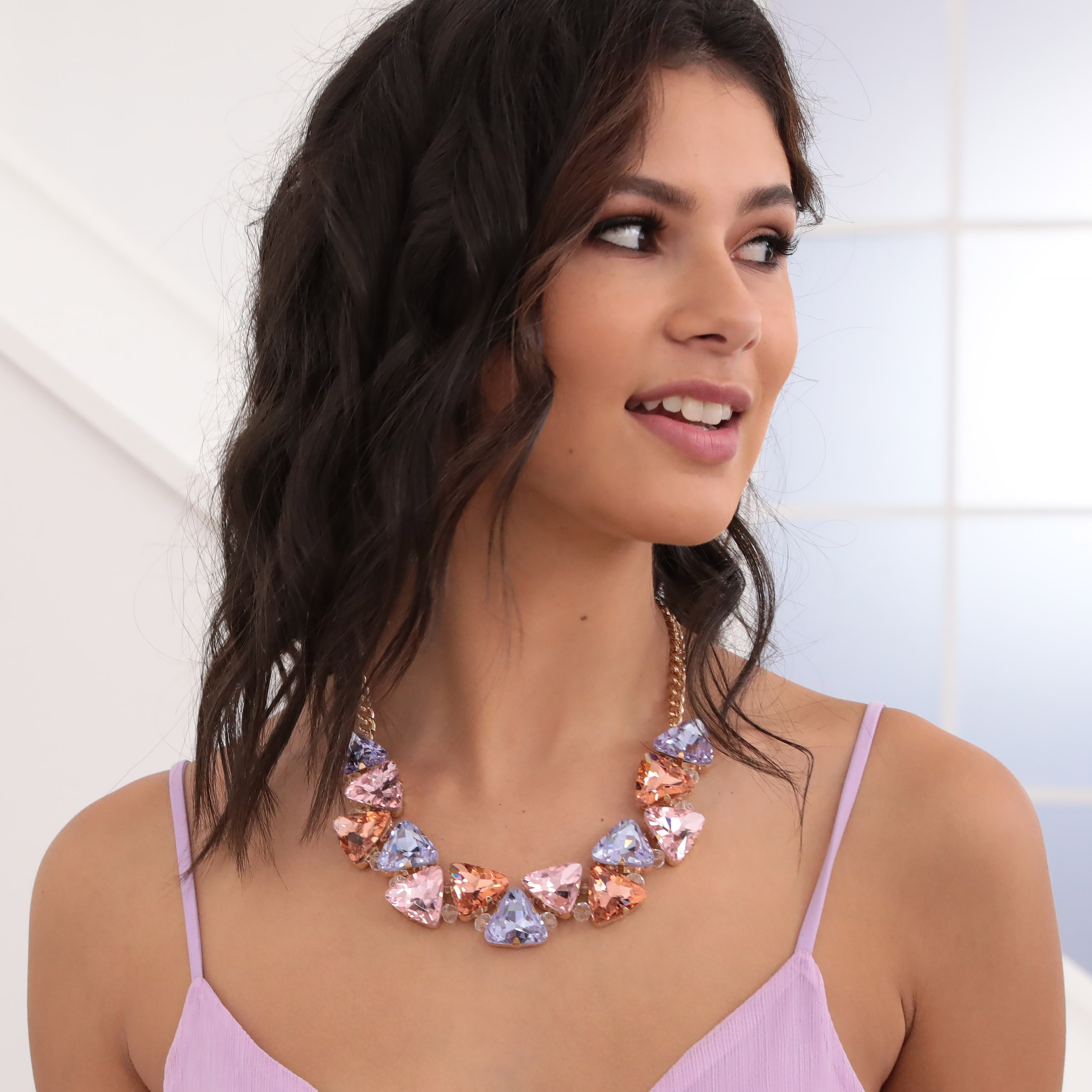 Triangular Pastel Gemmed Necklace