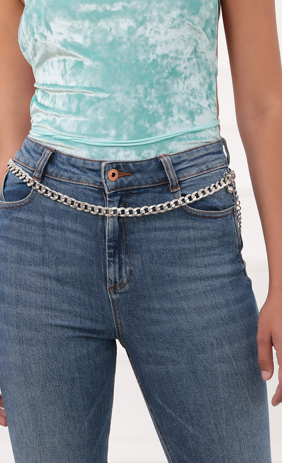 Thick Silver Chained Belt