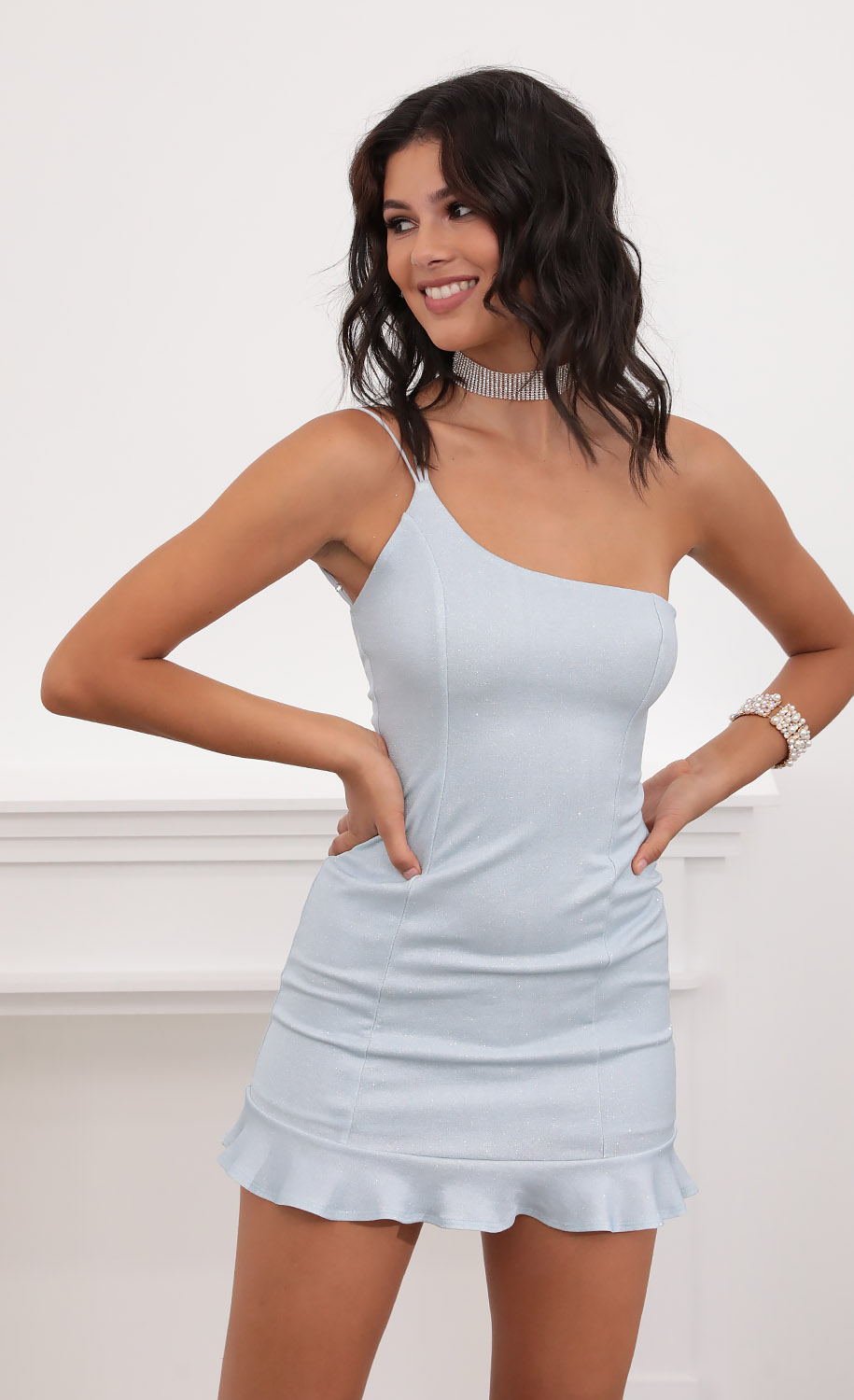 Embry Shoulder Ruffle Dress in Sparkly Blue