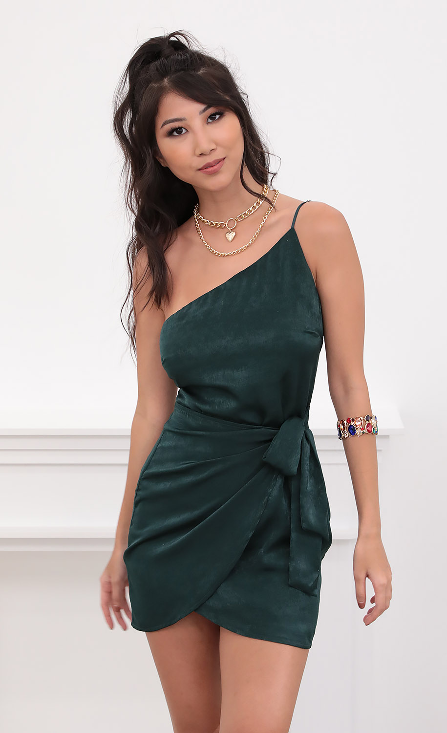 Santorini Satin Wrap Dress in Emerald