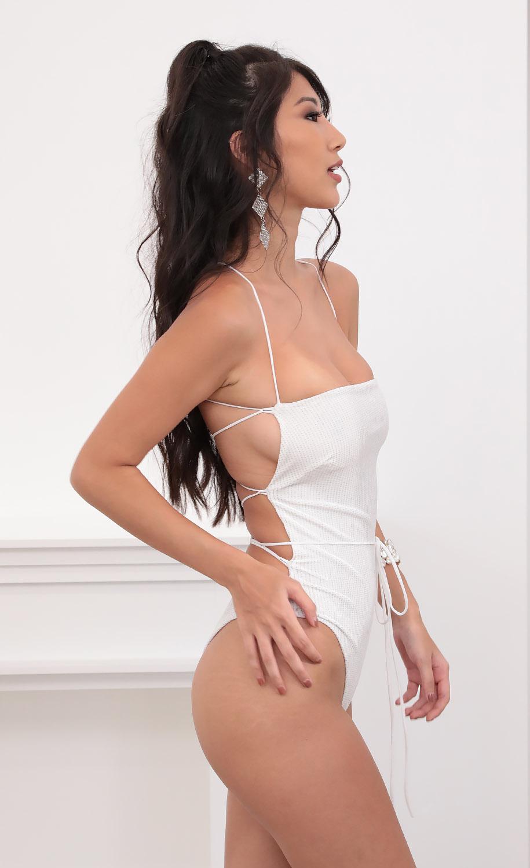 Strappy Back Bodysuit in Sparkly White