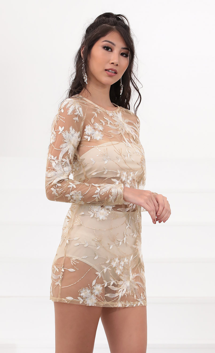 Chic Embroidered Lace Dress in Gold