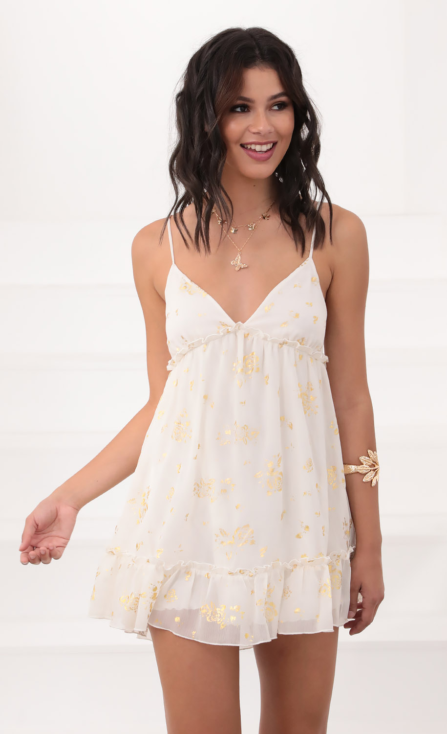 Rosa Day Dress in Ivory and Gold Detailing