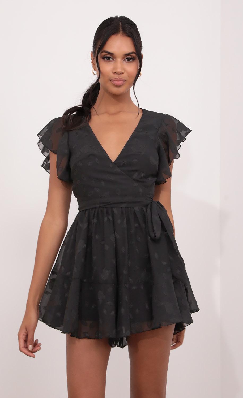 Nikki Wrap Romper in Black Floral Crinkle Chiffon