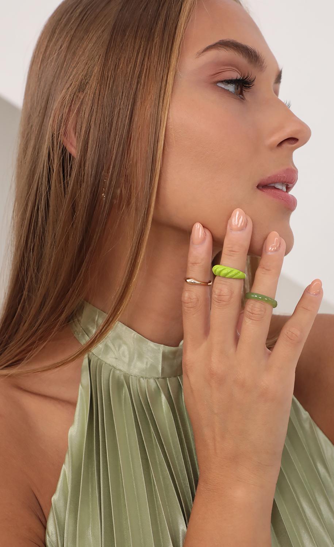 Green Goddess Ring Set