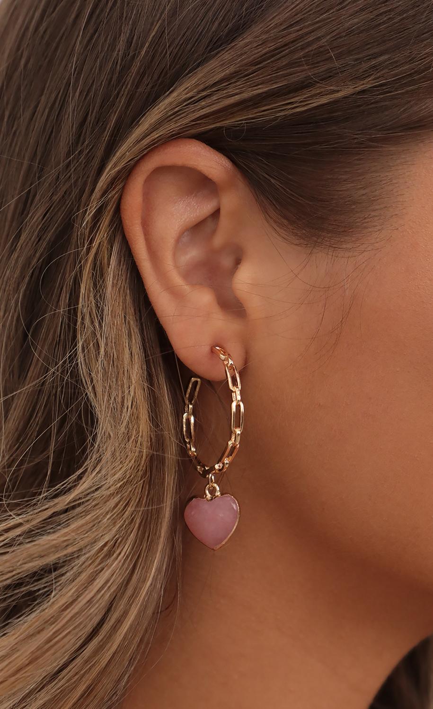 Hanging Love Earrings in Gold