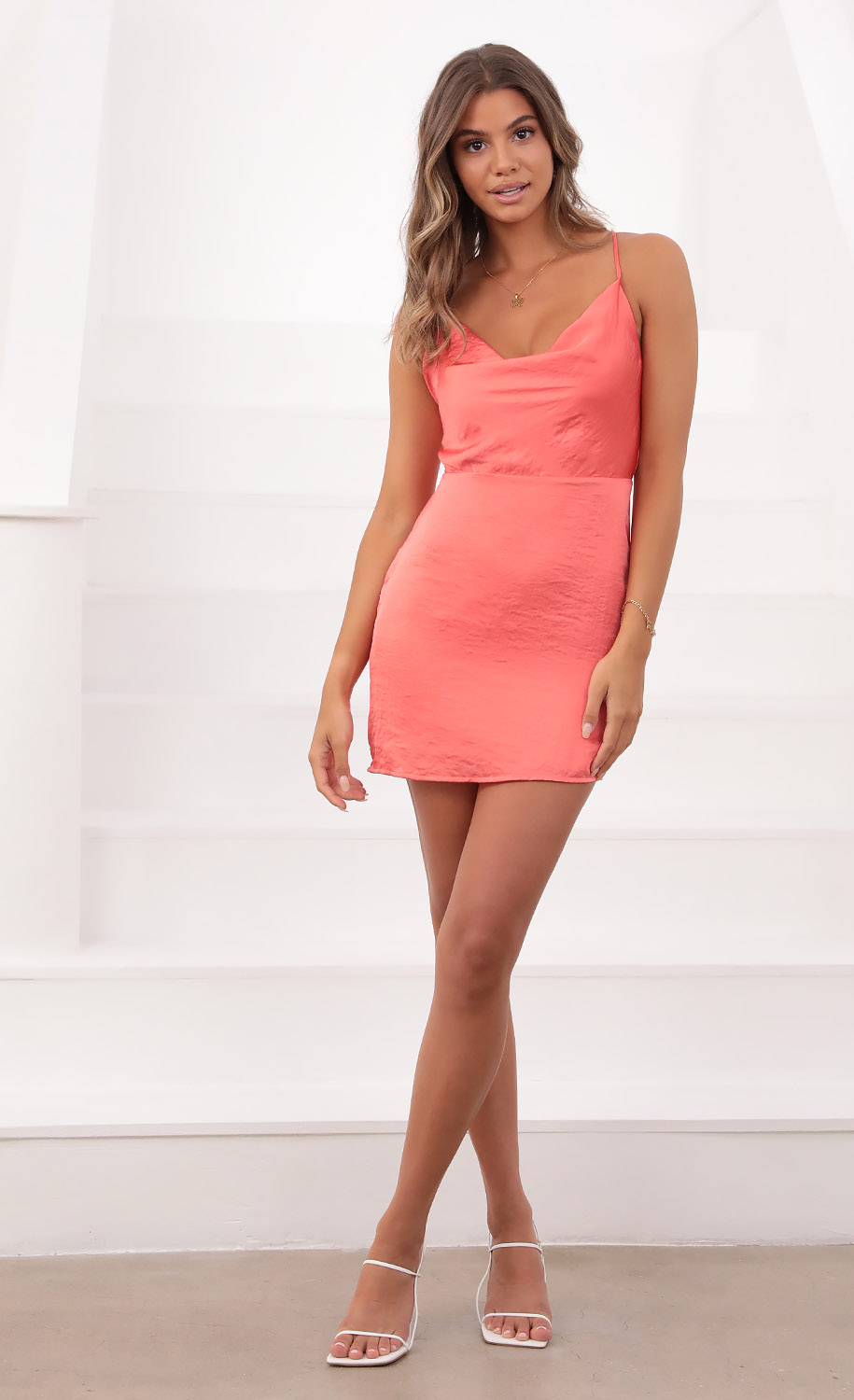 Sunkissed Satin Cowl Neck Dress in Coral
