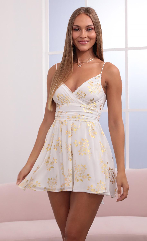 Eliza Chiffon A-Line Dress in White/Gold