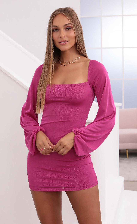 Shantelle Dress in Black Hot Pink
