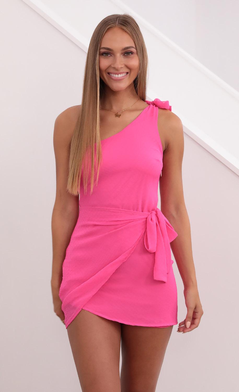 Chelsea Shoulder Tie Dress in Hot Pink