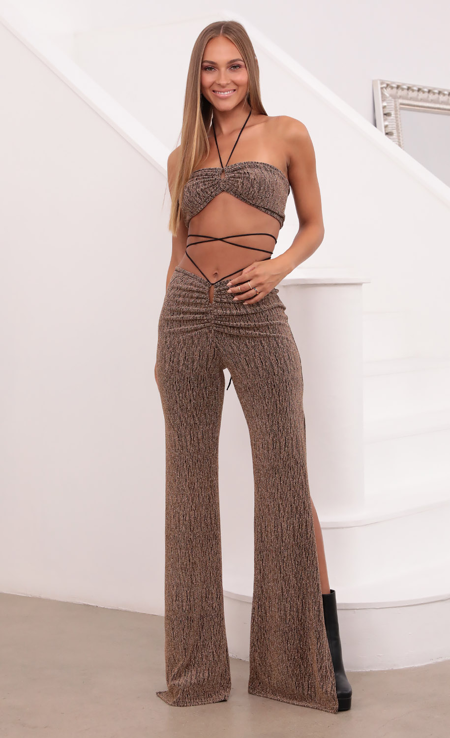 Dylan Suede Pant Set in Gold