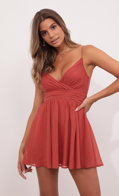 Eliza Chiffon A-Line Dress in Rust