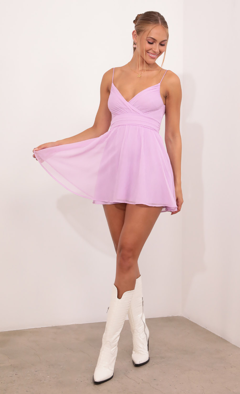 Eliza Chiffon A-Line Dress in Lilac