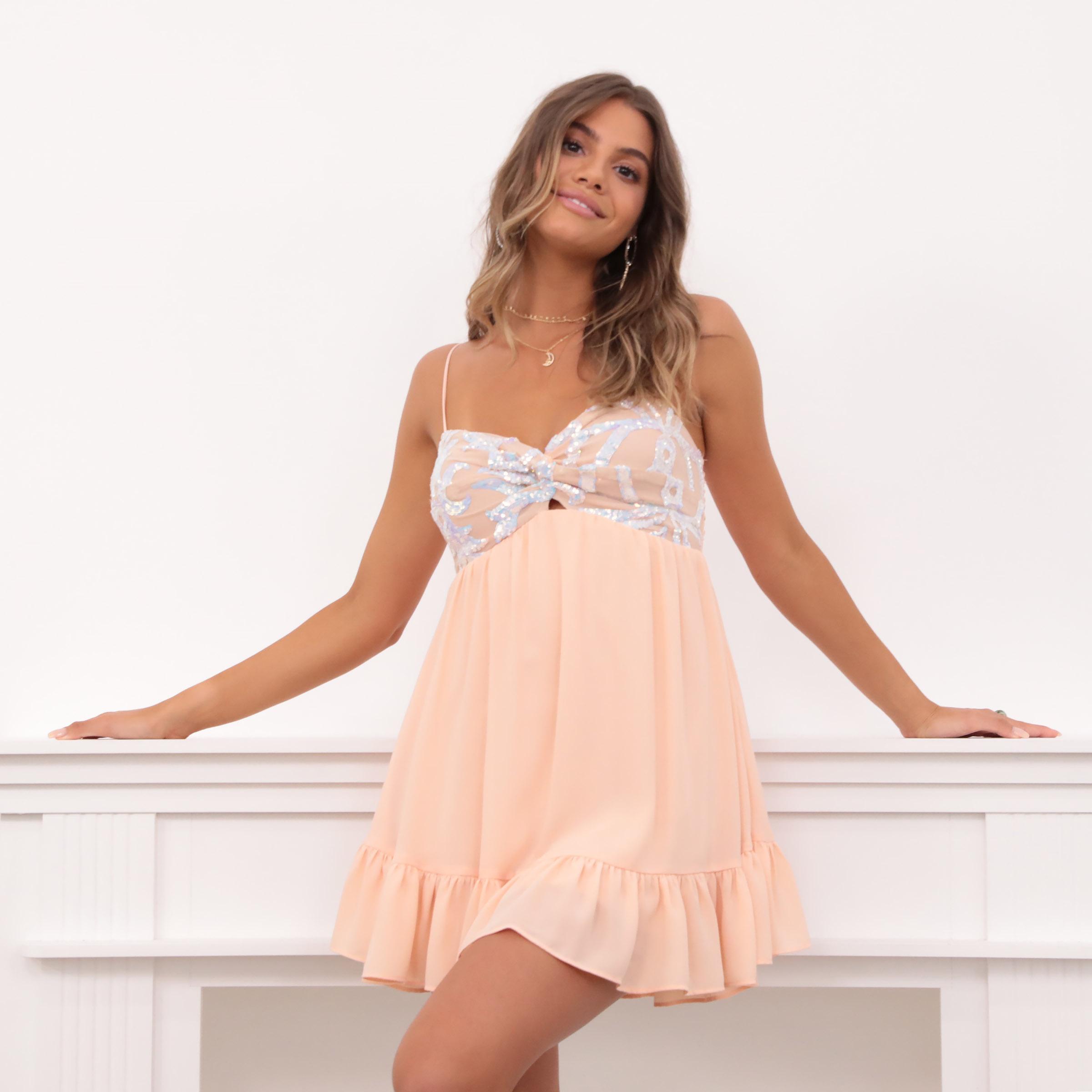Annabelle BabyDoll Chiffon Dress in Peach