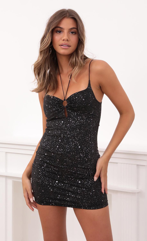 Elin Sparkle Jersey Dress in Black