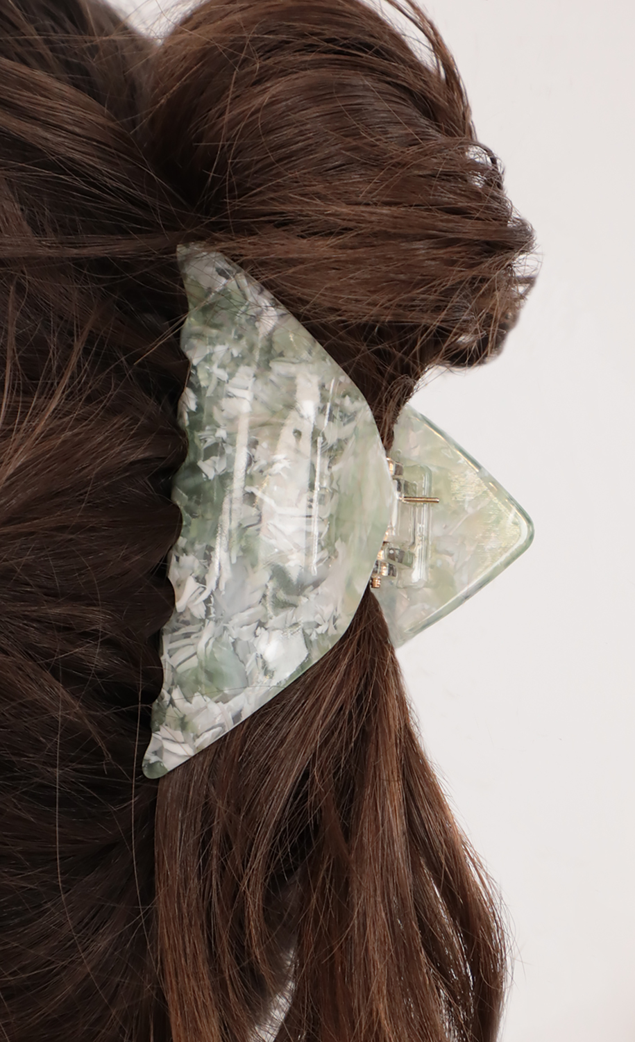 Marble Baby Claw Hair Clip in Green