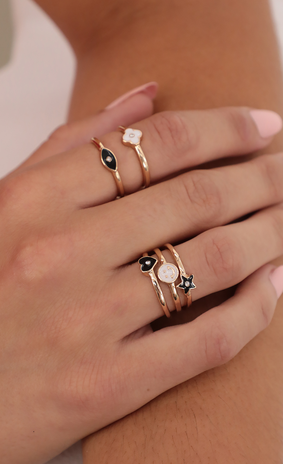 Mixed Emotions Ring Set in Gold