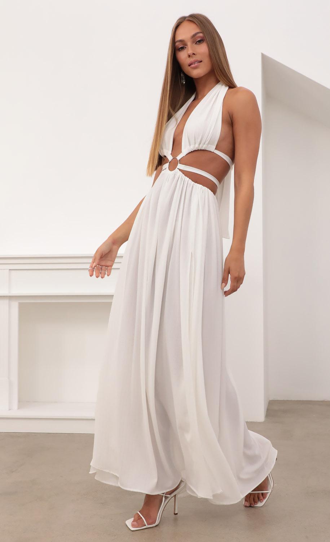 Malia Cut Out Maxi Dress in White Pinstripe