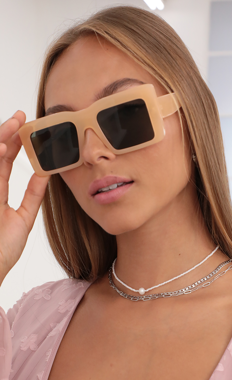 Devany Oversized Square Sunglasses in Nude