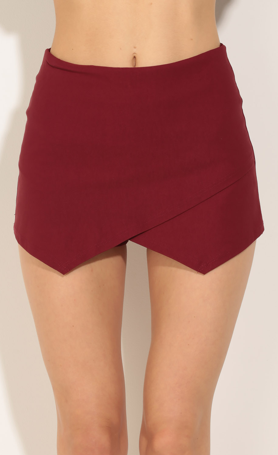 Asymmetric Skort In Burgundy